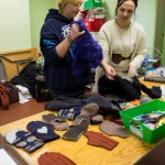 Felting and mitten making with Dayna Slingerland and Sarah Eby.